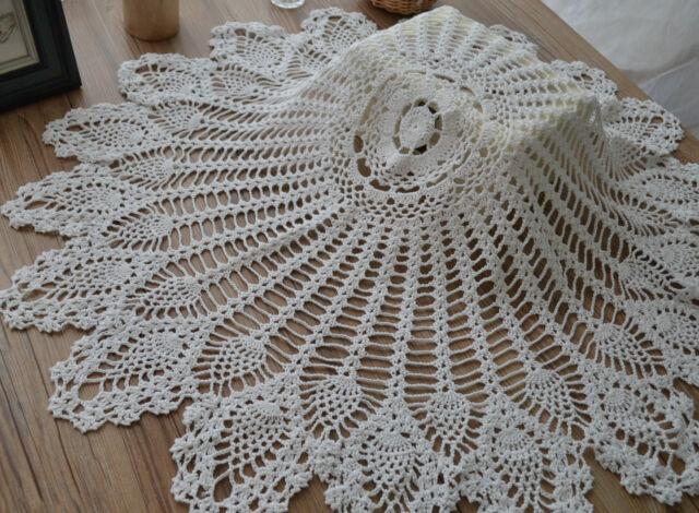 36 Round Crochet Table Cloth Runner Topper Victorian White Pineapple Wedding