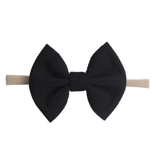 14Colors Bow Headband Nylon Hairband Girls Knotted Turban Head Wraps Elastic New