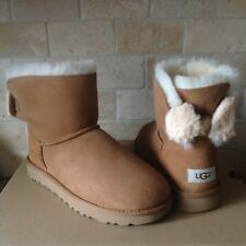 f2573ebf376 UGG Arielle Bailey Wool Fur Bow Chestnut Suede Mini BOOTS Size US 6 ...