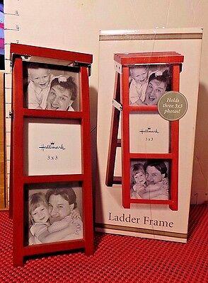 """Picture Frame, Wooden, Ladder, Holds 3"""" x 3"""" Photos, Hallmark"""