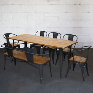 Details About Tolix Style Dining Sets Rectangular Table Chairs Graphite Grey Metal Wood Pub