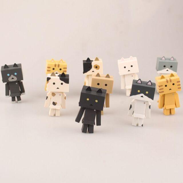 10pcs/set Revoltech Danbo Mini Cat in Danboard Danbo Figure Model toy New NO Box