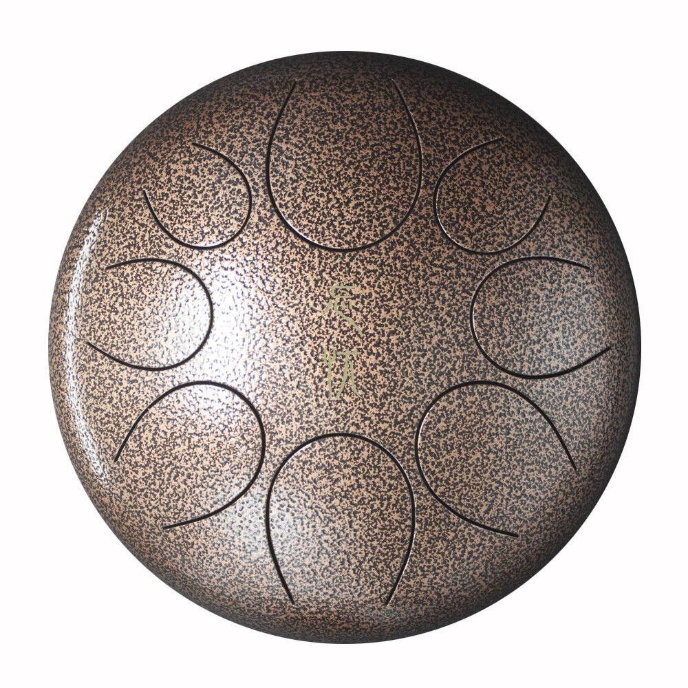 Steel Tongue Drum Handpan Drum Hand Drum Percussion Instrument Bronze 10  + Bag