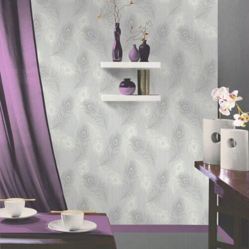 Debona viola Pluma Patrón Brillo Motif Pájaro textura del papel pintado 40915