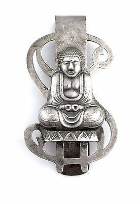 BIG Vintage 1940s Signed Handmade JAPAN 950 Sterling Buddha & Dollar MONEY CLIP