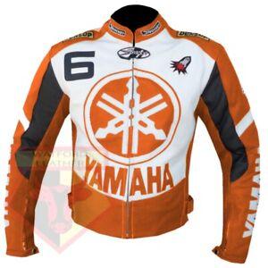 YAMAHA-6-ORANGE-MOTORCYCLE-MOTORBIKE-BIKERS-COWHIDE-LEATHER-ARMOURED-JACKET