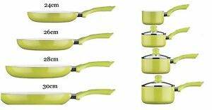 Ecocook-LIME-GREEN-Saucepan-amp-Pan-Frying-Set-Non-Stick-Ceramic-White-Coating