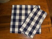Checker Navy & White Napkins- 100% Cotton-set Of 2