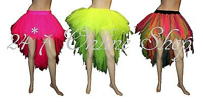 Long Neon UV 7 Layer Tutu Skirt Dance Wear Hen Night Party Club Rave Fancy Dress