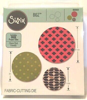 "Sizzix BIGZ Fabric-Cutting Die800002 Circles 1.5"" 2"" /&  2.5"" Inches NEW"