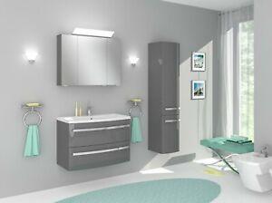 Details zu Badmöbel Set OLIVIA 80 GRAU Hochglanz mit Waschbecken  verschiedene Kombinationen