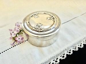 Ring-Jewelry-Box-Silver-Box-French-Roses-Vermeil-Trinket-Weed-Vanity-Desk