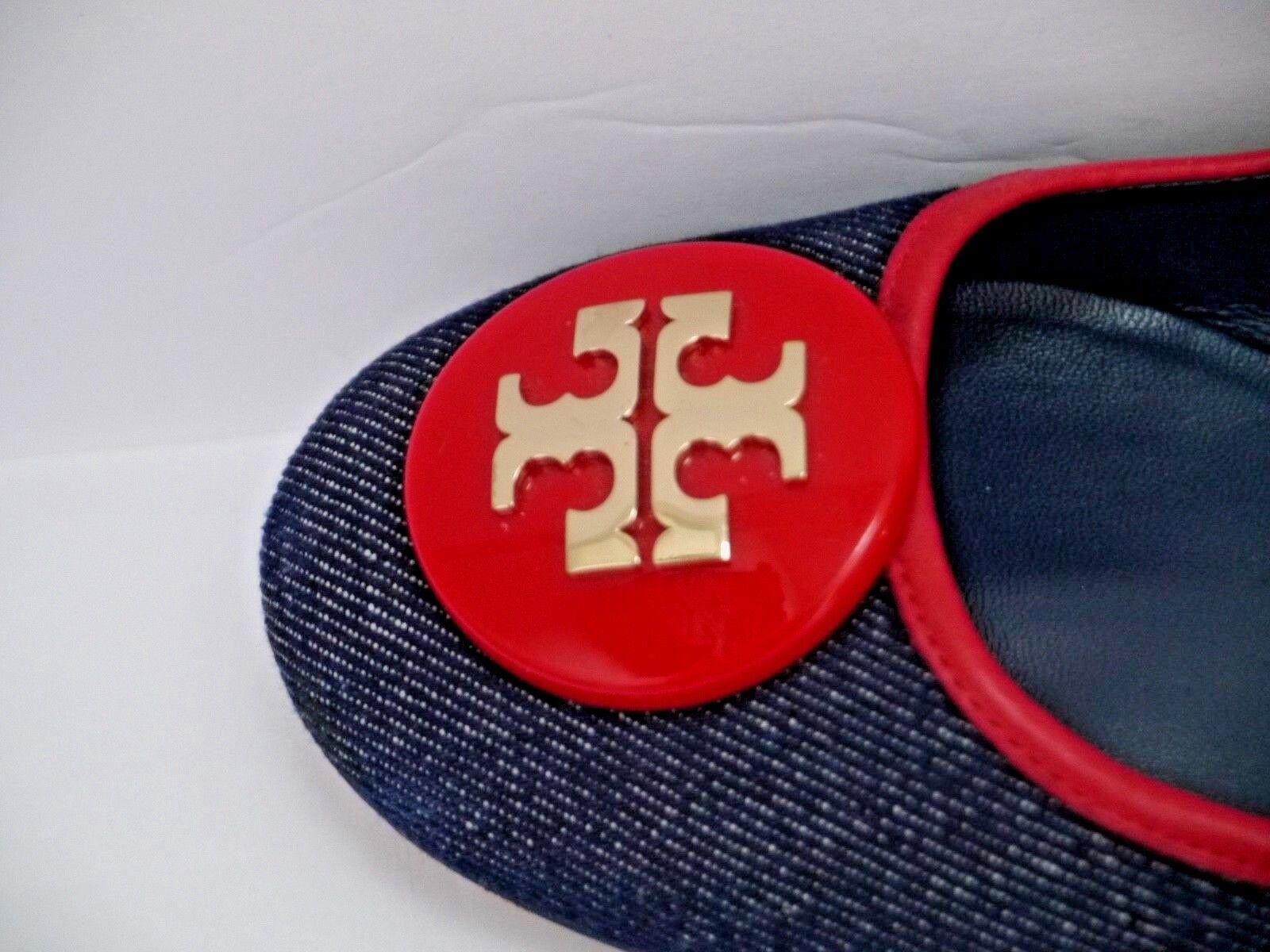 tory burch perry perry burch reva bleu denim Rouge  trim logo détail des ballerines taille 9,5 e232da