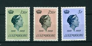 Luxembourg-1959-Grand-Duchess-Charlotte-full-set-of-stamps-Mint-Sg-651-653
