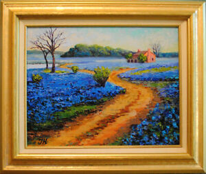Bluebonnets-Original-framed-oil-on-canvas-11-034-x14-034-painting-from-artist