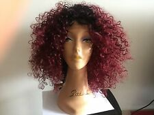 "kinky lace front burgundy /black wig 20"""