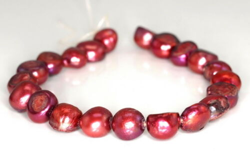 """10X9MM RED NATURAL PEARL GEMSTONE GRADE A POTATO LOOSE BEADS 7/"""""""