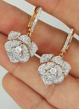 18K WHITE & ROSE GOLD NATURAL DIAMOND FLOWER RUSSIAN STYLE HANGING DROP EARRINGS