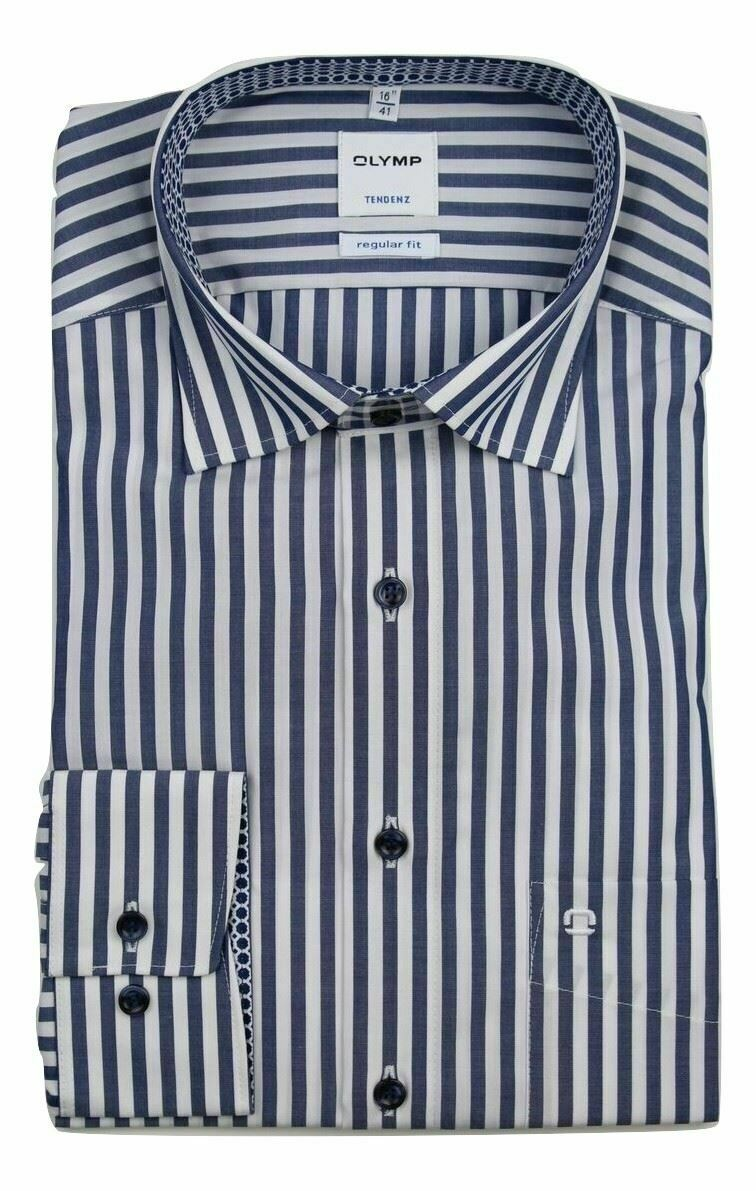 Navy Bold Stripe Spread Collar