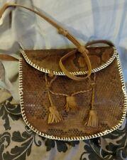 Genuine Snake Skin Satchel Hand Bag Brown Leather Trim VTG 80's