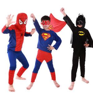 49ffc02043c4f Details about Spiderman Batman Superman Superhero Halloween Costume for  Kids Capes Anime