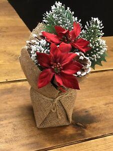 Christmas Flower Arrangements Artificial.Details About Artificial 20cm Potted Red Poinsettia Cone Fern Christmas Flower Arrangement