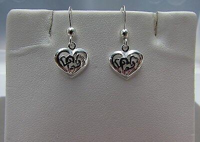 Small Hearts in Heart Sterling Silver Dangle Hook Earrings