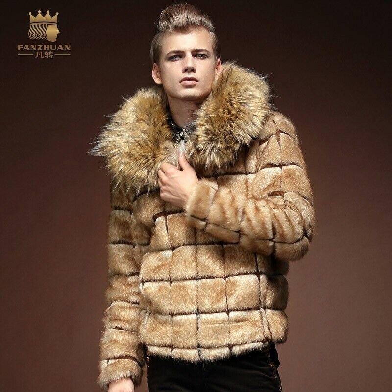 Para Hombres Invierno Informal De  Piel Chaqueta Prendas de abrigo Abrigo Corto De Cuello De Piel Cálido con cheque  tienda de descuento