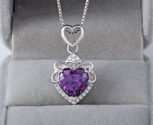 Heart-Crystal-Pendant-925-Sterling-Silver-Chain-Necklace-Womens-Ladies-Jewellery