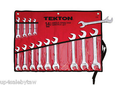 TEKTON 14-pc. Angle Open End Wrench Set (SAE)