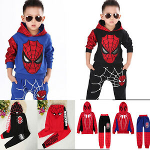 2Pcs Child Boys Long Sleeve Spider-Man Hoodies Top Sweatshirt+Pants Outfits Sets
