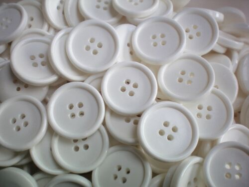 10 x 21mm 34L Large White 4 Hole Buttons Sewing Knitting Craft Joblot AA27