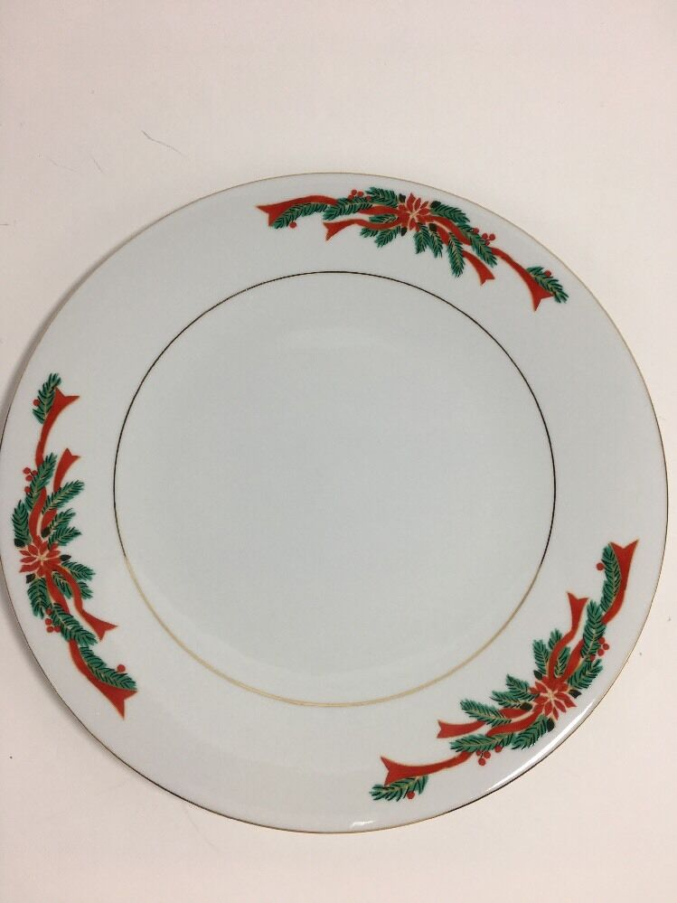 Set Of 4 Poinsettia Ribbons Holiday Table Porcelain Dinner Plates 10 1 2