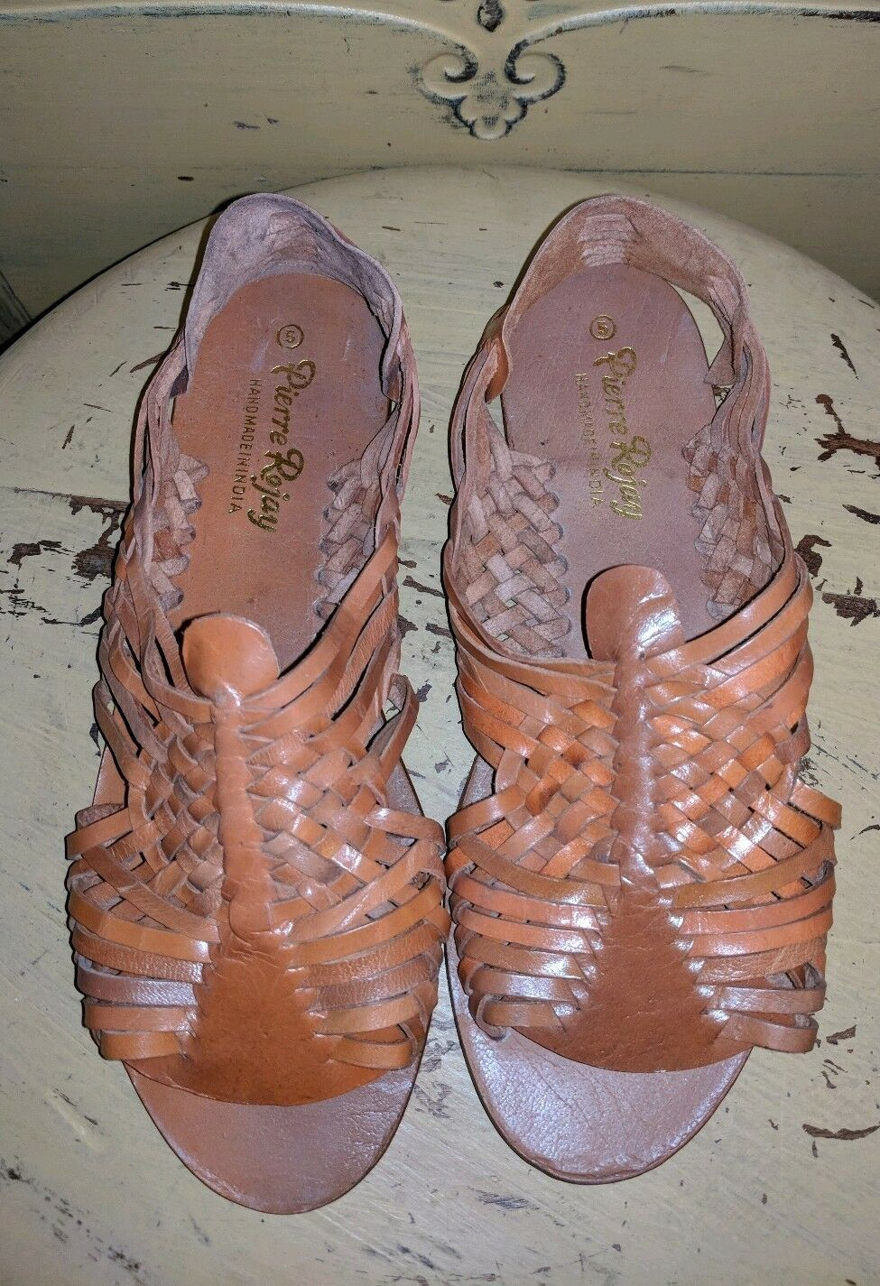 VINTAGE PIERRE ROJAY HANDMADE HANDMADE HANDMADE HUARACHE WOVEN LEATHER SANDALS LADIES BROWN 5 19d059