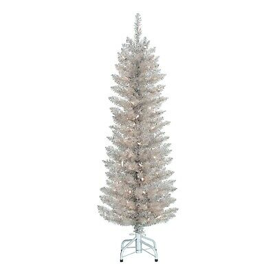 Holiday Time Pre Lit Rose Gold Tinsel Christmas Tree 4 Clear 804606691002 Ebay