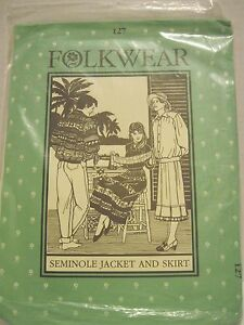 Details about Folkwear Semoniole Jacket and Skirt Costume 127 uncut in  plastic