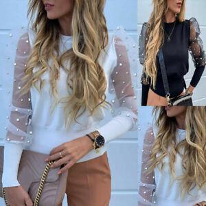 Women-Puff-Sheer-Mesh-Long-Sleeve-Loose-Casual-Pullover-Blouse-Tops-Shirt