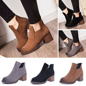 744cf213ea6 Girl Womens Low Heel Short Cylinder Boots Chunky Heels Martin Ankle ...
