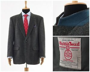 Mens-HARRIS-TWEED-Blazer-Coat-Jacket-Two-Button-Wool-Grey-Size-44-XL-54