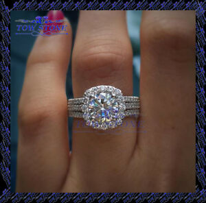 3 1/2CARAT HALO ROUND CUT DIAMOND BRIDAL ENGAGEMENT RING SOLID 10K WHITE  GOLD FN