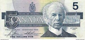 CANADA-5-DOLLARS-1986-1994-P-95c-XF-SIGN-BONIN-amp-THIESSEN-CA358c1