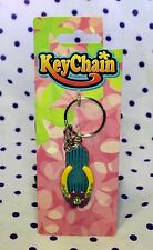 BLUE Sandal Flip Flop Shoe Summer Flower Floral Crystal KEY CHAIN Metal Enamel