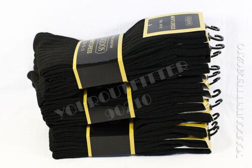 9-11 10-13 Crew Casual Dress Solid Black Socks Cotton Plain Ribbed Men/'s 4 Pairs