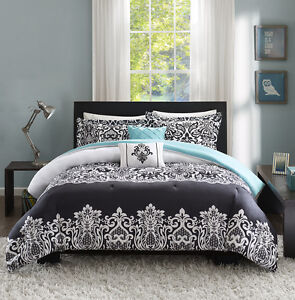New Aqua Black White Chic Damask Comforter Full Queen 5 Pcs Bedding
