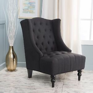 Image Is Loading Clarice Tall Wingback Tufted Fabric Club Chair