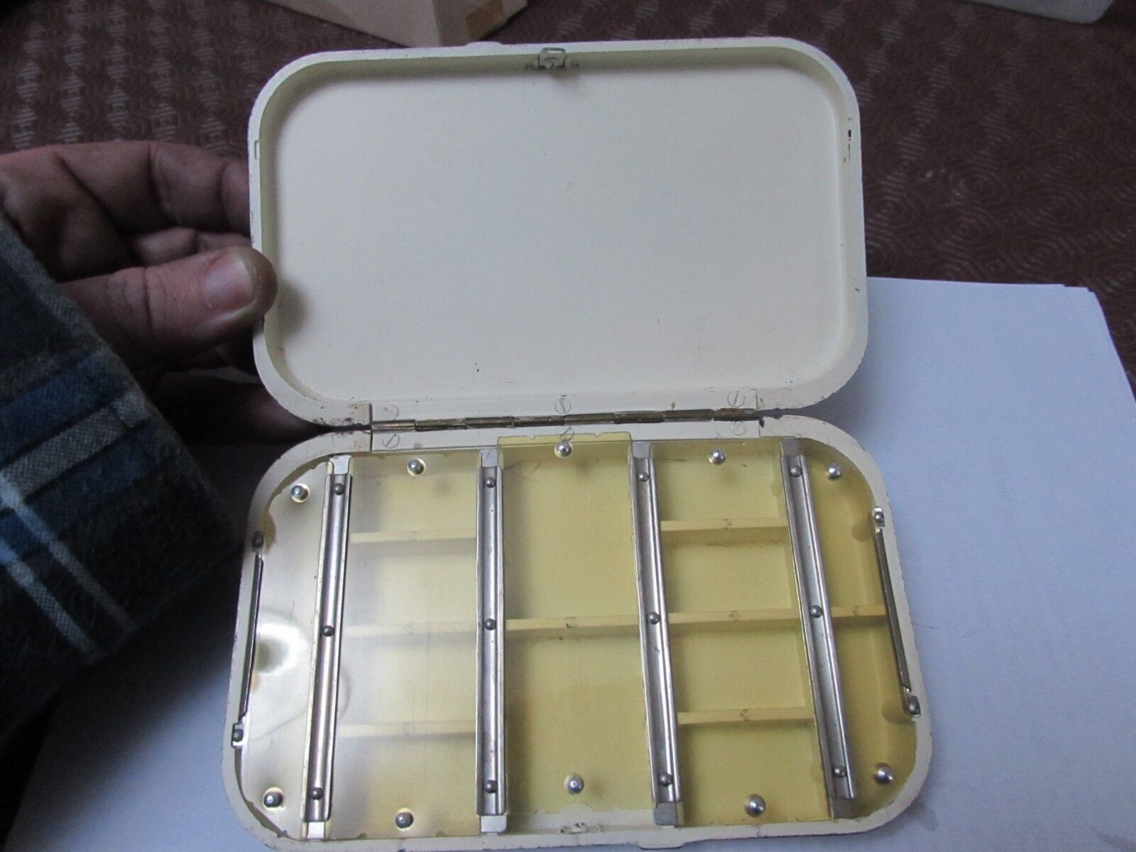 Stunning vintage early hardy large tortoise blackda  deep mayfly fly fishing box  clients first reputation first
