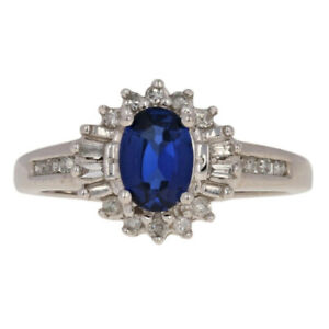1-18ctw-Oval-Synthetic-Sapphire-amp-Diamond-Ring-10k-White-Gold-Halo