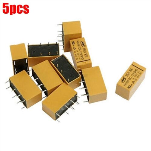 5Pcs Power Relay HK19F Dc 12V Coil Dpdt 8 Pin 2No 2Nc Mini Pcb Type New Ic ht