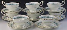 16 Pc Vintage Signed Coalport Geneva Porcelain Footed Tea Cup Saucer Set