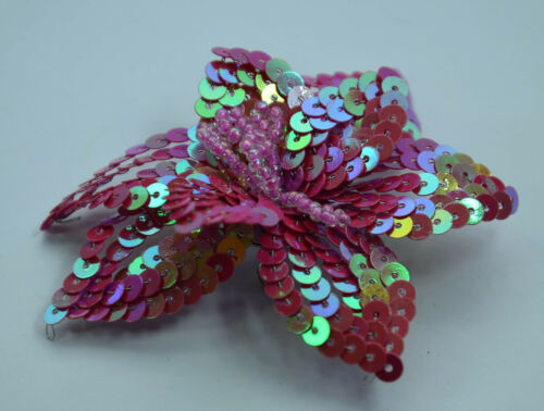 PRETTY PINK Beaded Sequin Applique Embroidery Flower Lily Star Pin Badge Brooch
